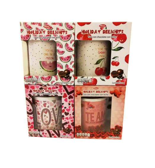 Valentines mugs in Box wih Chocolate 2