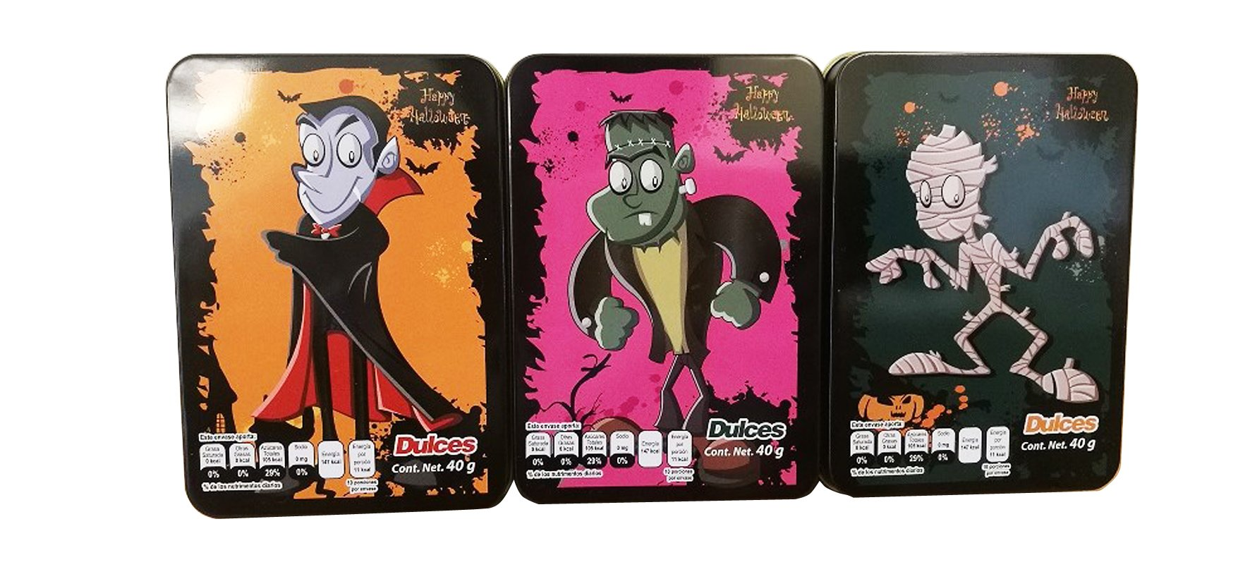 Halloween Monster Tins with Candy