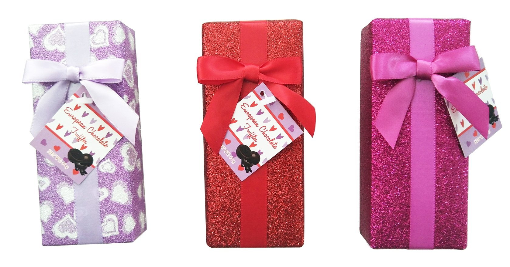 Valentines Wrapped Gift Boxes with Chocolate